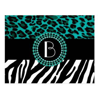 Stylish Animal Prints Zebra and Leopard Patterns Postcard