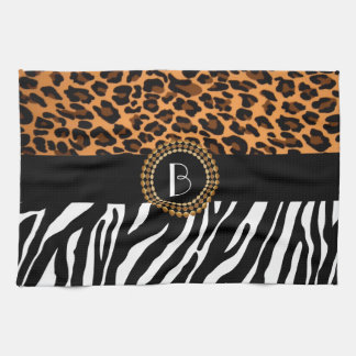Stylish Animal Prints Zebra and Leopard Patterns Tea Towel