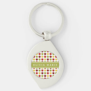 Stylish Apple Pattern with Personalised Name Key Ring