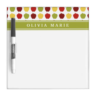 Stylish Apple Pattern with Personalized Name Dry Erase Board