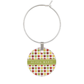 Stylish Apple Pattern with Personalized Name Wine Charm