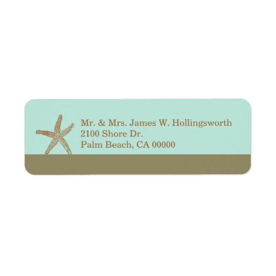 Stylish Aqua and Taupe with Starfish Return Address Label
