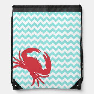 Stylish Aqua Chevron and Crab Drawstring Backpack