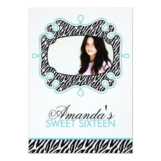 Stylish Aqua Frame Sweet Sixteen Card