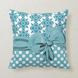 Stylish Aquamarine and White Damask Pillow