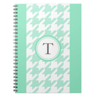 stylish aquamarine houndstooth with monogram notebook