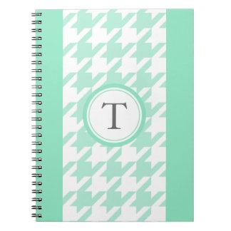 stylish aquamarine houndstooth with monogram notebooks