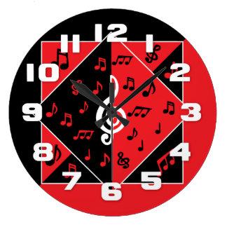 Stylish Art Deco Music Notes Red Black White Large Clock