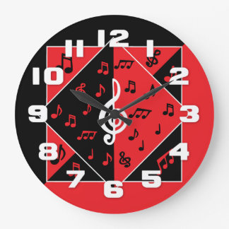 Stylish Art Deco Music Notes Red Black White Wall Clocks