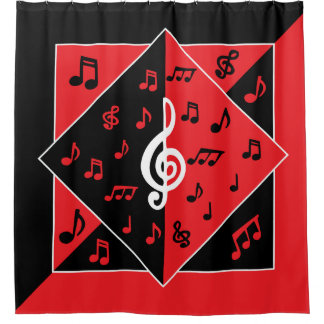 Stylish Art Deco Music theme Red Black White Shower Curtain