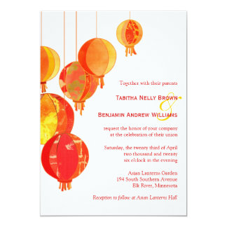 Stylish Asian Lanterns Garden Wedding 13 Cm X 18 Cm Invitation Card