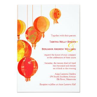 Stylish Asian Lanterns Garden Wedding Card