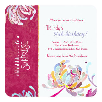 Stylish Asian Mum Hot Pink Surprise Birthday Party Card