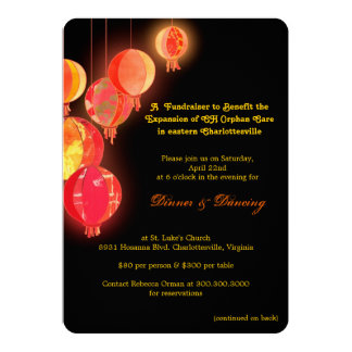 Stylish Asian Themed Fundraising Event 13 Cm X 18 Cm Invitation Card