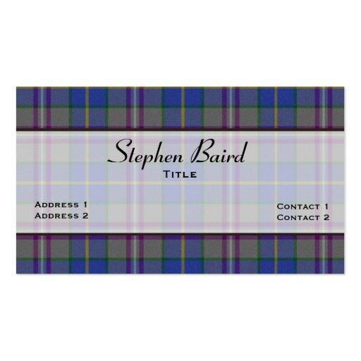 Stylish Baird Tartan Plaid Custom Business Cards