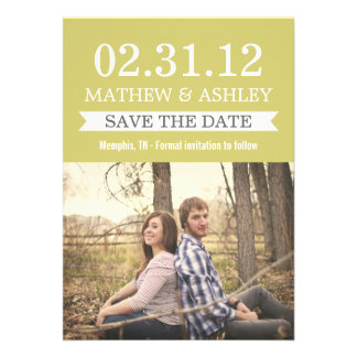 Stylish Banner Chartreuse Save The Date Invites