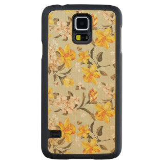 Stylish beautiful bright floral pattern carved maple galaxy s5 case