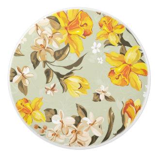 Stylish beautiful bright floral pattern ceramic knob