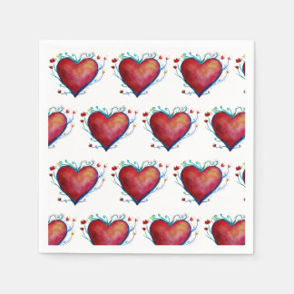 Stylish Beautiful Hearts Wedding  Napkins Paper Napkins