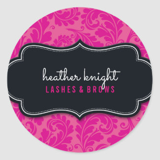STYLISH BEAUTY classy flourish black magenta pink Classic Round Sticker