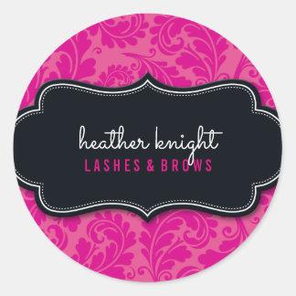 STYLISH BEAUTY classy flourish black magenta pink Round Sticker