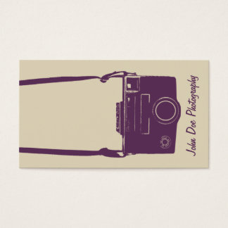 Stylish Beige and Eggplant Retro Film Camera Business Card