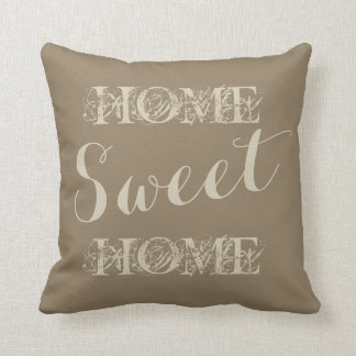 Stylish beige taupe home sweet home throw pillow