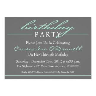 Stylish Birthday Party Invitations (Green) invitations