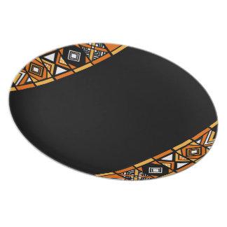 Stylish Black African Art Pattern plate