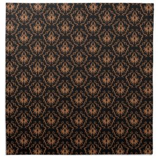 Stylish black and brown damask pattern. napkin
