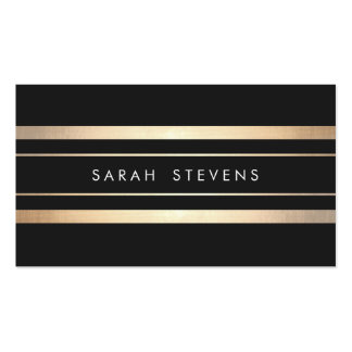 Stylish Black and Faux Foil Gold Striped Modern Pack Of Standard Business Cards