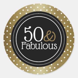Stylish Black And Gold 50 And Fabulous Classic Round Sticker