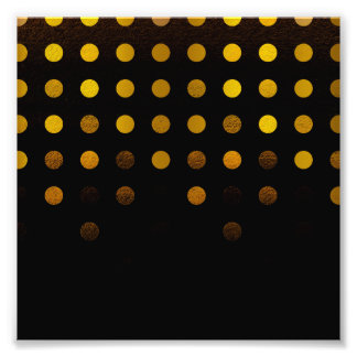 Stylish Black and Gold Cascading Polka Dots Photo Print