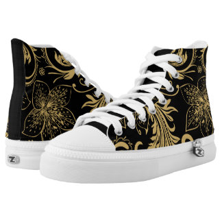 Stylish black and gold High Top Shoes Printed Shoes