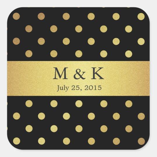 Stylish Black and Gold Polka Dots Monogram Square