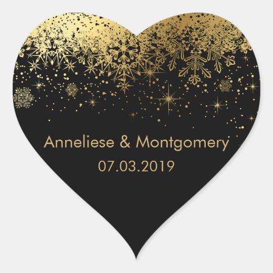 Stylish Black and Gold Snowflakes | Wedding Heart