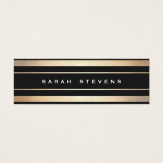 Stylish Black and Gold Striped Modern Professional Mini Business Card