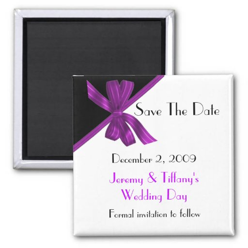 Stylish Black and Purple Save the Date Magnet