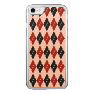 Stylish Black and Red Argyle Plaid Pattern Carved iPhone 8/7 Case