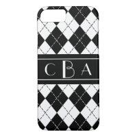 Stylish Black and White Argyle Monogrammed