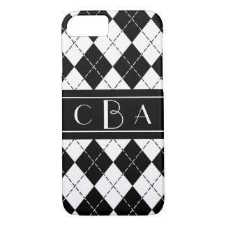 Stylish Black and White Argyle Monogrammed iPhone 8/7 Case