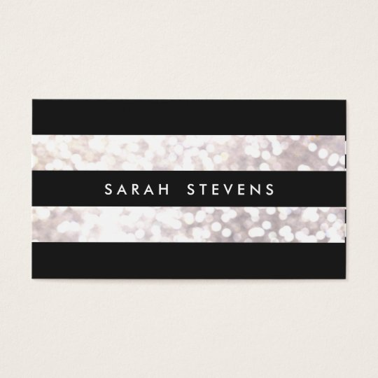 Stylish Black and White Bokeh Striped Modern Business Card