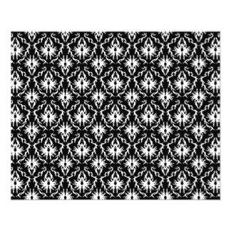 Stylish Black and White Damask Pattern. 11.5 Cm X 14 Cm Flyer