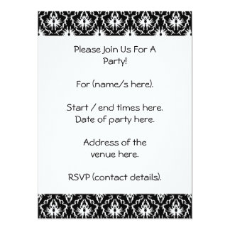 Stylish Black and White Damask Pattern. 17 Cm X 22 Cm Invitation Card