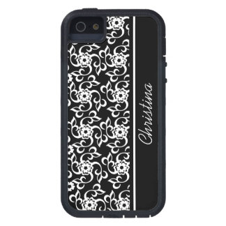 Stylish Black and white floral and leaves pattern iPhone 5 Covers