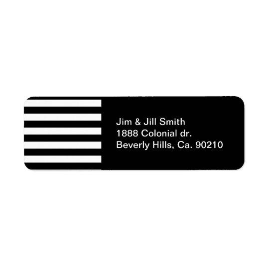 Stylish Black And White Horizontal Stripes Return Address Label