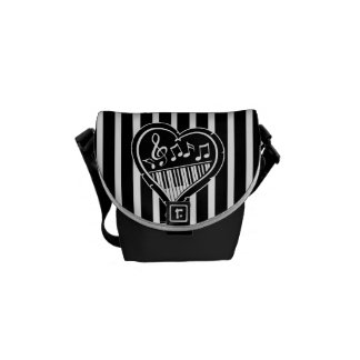 Stylish Black and white musical notes and piano Messenger Bags