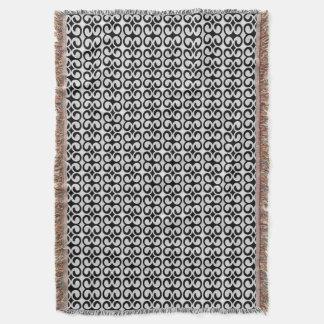 Stylish Black and White Pattern Throw Blanket