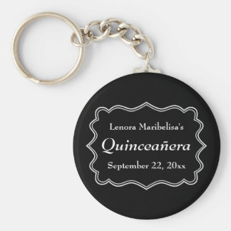 Stylish Black and White Quinceanera Keychains