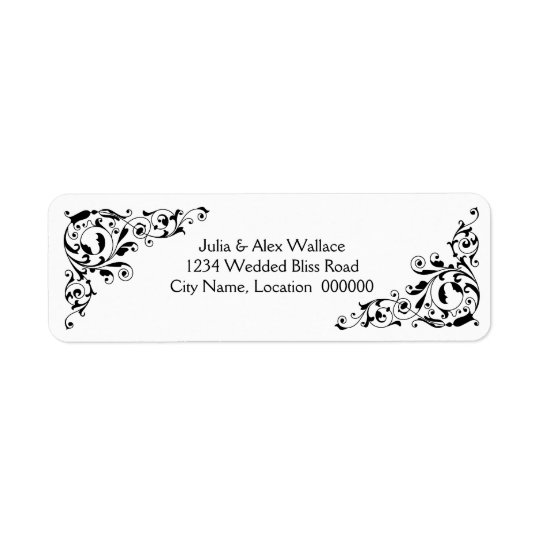 Stylish Black and White Swirls Customisable Labels